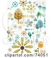 Royalty Free RF Clipart Illustration Of A Digital Collage Of Tree And Nature Doodles On White by BNP Design Studio