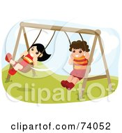 Royalty Free RF Clipart Illustration Of A Boy And Girl Playing On Playground Swings