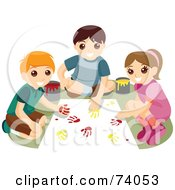 Royalty Free RF Clipart Illustration Of A Group Of Children Creating Art With Paint Hand Prints by BNP Design Studio