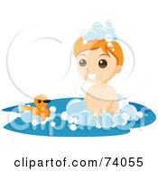 Royalty Free RF Clipart Illustration Of A Boy Playing With A Ducky In A Bubble Bath by BNP Design Studio