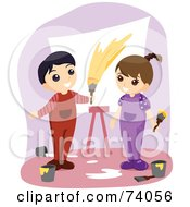 Royalty Free RF Clipart Illustration Of A Boy And Girl Painting A Canvas by BNP Design Studio
