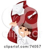 Royalty Free RF Clipart Illustration Of A School Boy Graduate Tossing His Cap