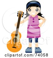 Royalty Free RF Clipart Illustration Of A Happy Black Haired Girl Standing With A Guitar by BNP Design Studio