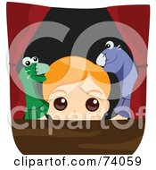 Royalty Free RF Clipart Illustration Of A Blond Boy Putting On A Puppet Show by BNP Design Studio