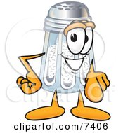 Clipart Picture Of A Salt Shaker Mascot Cartoon Character Pointing At The Viewer by Toons4Biz