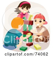 Royalty Free RF Clipart Illustration Of Boys And A Girl Playing With Blocks