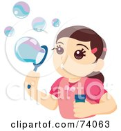 Royalty Free RF Clipart Illustration Of A Pretty Little Girl Blowing Bubbles by BNP Design Studio