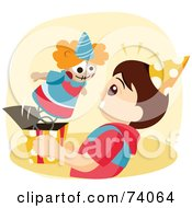 Royalty Free RF Clipart Illustration Of A Clown Popping Out Of A Jack In The Box Into A Boys Face