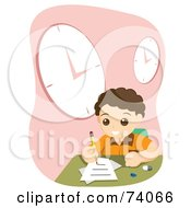 Royalty Free RF Clipart Illustration Of A School Boy Doing His Home Work Under Wall Clocks