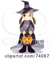 Royalty Free RF Clipart Illustration Of A Happy Little Girl Holding A Pumpkin Basket And Dressed In A Witch Costume