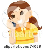 Royalty Free RF Clipart Illustration Of A Happy Brunette Girl Talking On A Cell Phone
