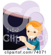 Royalty Free RF Clipart Illustration Of A Smart School Boy Completing Math Problems On A Chalk Board