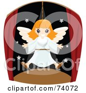 Royalty Free RF Clipart Illustration Of A Happy Girl Flying As An Angel In A Play