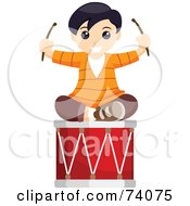Royalty Free RF Clipart Illustration Of A Happy Boy Sitting On Top Of A Drum by BNP Design Studio
