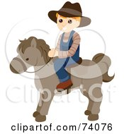 Blond Boy Riding A Pony