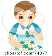Royalty Free RF Clipart Illustration Of A Happy Little Boy Assembling A Puzzle