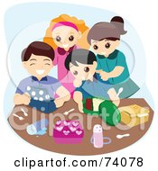 Royalty Free RF Clipart Illustration Of A Group Of Happy Kids Unpacking Their Lunch Boxes