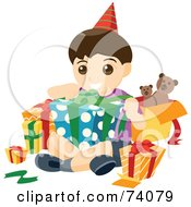 Royalty Free RF Clipart Illustration Of A Happy Birthday Boy Opening Presents