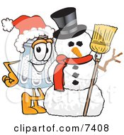 Clipart Picture Of A Salt Shaker Mascot Cartoon Character With A Snowman On Christmas by Toons4Biz