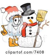 Salt Shaker Mascot Cartoon Character With A Snowman On Christmas