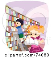 Royalty Free RF Clipart Illustration Of A School Girl And Boy Picking Books In A Library
