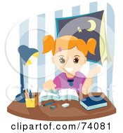 Royalty Free RF Clipart Illustration Of A Happy School Girl Doing Her Homework