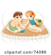 Royalty Free RF Clipart Illustration Of A Boy And Girl Playing In A Sand Box Or On A Beach