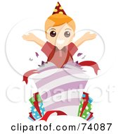 Royalty Free RF Clipart Illustration Of A Happy Birthday Boy Popping Out Of A Present