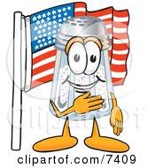 Salt Shaker Mascot Cartoon Character Pledging Allegiance To An American Flag