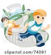 Royalty Free RF Clipart Illustration Of Three Boys Running On A Path