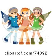 Royalty Free RF Clipart Illustration Of A Group Of Three Little Girls In Fairy Costumes