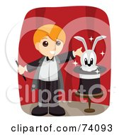 Royalty Free RF Clipart Illustration Of A Blond Magician Boy Presenting A Rabbit In A Hat On A Stage