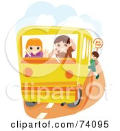 Royalty Free RF Clipart Illustration Of A Boy And Girl Looking Out Of The Back Of A School Bus