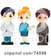 Group Of Children Dressed Up As A Doctor Librarian And Businessman