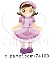 Royalty Free RF Clipart Illustration Of A Polite Little Girl In A Purple Dress