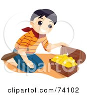 Royalty Free RF Clipart Illustration Of A Pirate Boy Kneeling In Front Of Treasure Chest With Gold