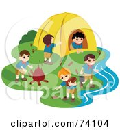 Royalty Free RF Clipart Illustration Of A Group Of Male Scouts At A Camp Site by BNP Design Studio