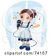 Royalty Free RF Clipart Illustration Of A Cute Brunette Girl Singing Into A Microphone