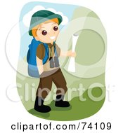 Royalty Free RF Clipart Illustration Of A Happy Outdoorsy Little Boy Hiking In The Mountains