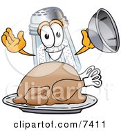 Clipart Picture Of A Salt Shaker Mascot Cartoon Character Serving A Thanksgiving Turkey On A Platter