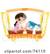 Royalty Free RF Clipart Illustration Of A Happy Girl Watering Potted Flowers In A Window Planter