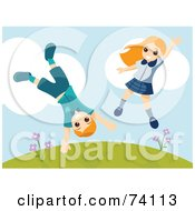 Royalty Free RF Clipart Illustration Of An Energetic Boy And Girl Jumping And Doing Cartwheels On A Hill