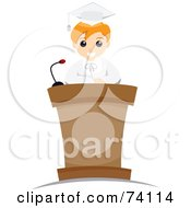 Royalty Free RF Clipart Illustration Of A Blond School Boy Graduate Giving A Speech At A Podium