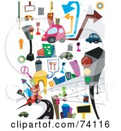 Royalty Free RF Clipart Illustration Of A Digital Collage Of Colorful Transportation And Urban Doodles