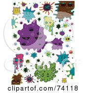 Royalty Free RF Clipart Illustration Of A Digital Collage Of Colorful Virus Doodles