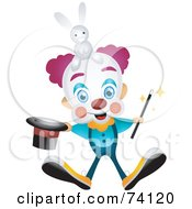 Royalty Free RF Clipart Illustration Of A Friendly Party Clown With A Magic Hat And Rabbit