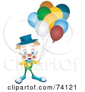 Royalty Free RF Clipart Illustration Of A Friendly Party Clown Holding Balloons
