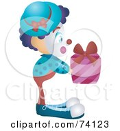Royalty Free RF Clipart Illustration Of A Friendly Party Clown Holding A Present
