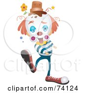 Royalty Free RF Clipart Illustration Of A Clumsy Party Clown With A Pot On His Head