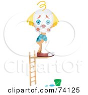 Royalty Free RF Clipart Illustration Of A Sad Party Clown Standing On A Diving Board With No Water Below